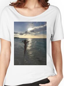 Sunset, girl on beach, Turks and Caicos Women's Relaxed Fit T-Shirt
