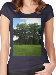 Weeping Willow Trees Photo Women's Fitted Scoop T-Shirt