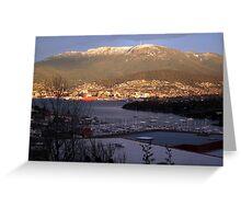 Early winter morning looking towards Mt Wellington from Bellerive - Tasmania, Australia Greeting Card