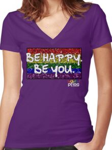 Be Happy. Be You. - PFLAG Capital Region Mardi Gras Shirt 2017 Women's Fitted V-Neck T-Shirt