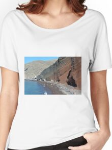 30 September 2016 The Red Beach on the Greek Island of Santorini Women's Relaxed Fit T-Shirt