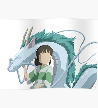 Minimalistic Spirited Away Chihiro and Haku Poster