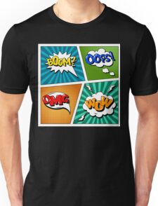 Set of Comics Bubbles in Pop Art Style. Expressions Boom, OMG, Wow, Oops Unisex T-Shirt