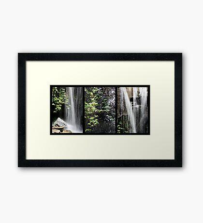 Rainforest Waterfall Triptych Framed Print