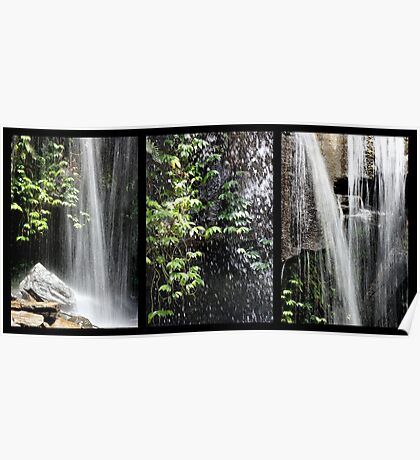 Rainforest Waterfall Triptych Poster