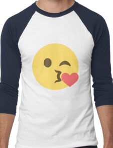 Emoji Kiss Cute Illustration Men's Baseball ¾ T-Shirt