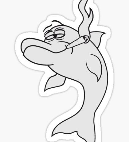 kiffer kiffen drogen weed rauchen hanf joint bekifft lustig comic cartoon cannabis stoned cool delfin cool design süß niedlich spaß  Sticker