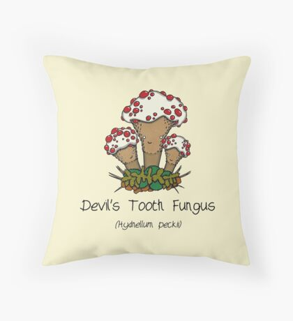 Devil's Tooth Fungus Throw Pillow