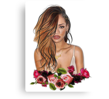 Rihanna Rose Etch Canvas Print