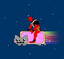 deadpool & Nyan cat by dave falcon