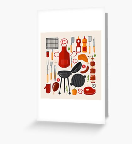 Grill Barbecue Set of Elements. Grilled Food Set with Kitchen Tools Greeting Card