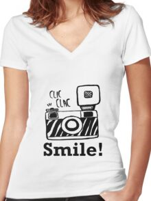 Smile For Camera - Photographer - Photo - Photography Gift Women's Fitted V-Neck T-Shirt