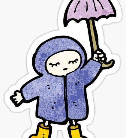 cartoon girl in rain coat Sticker