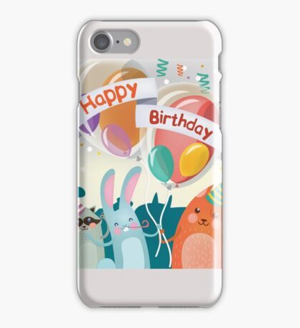 Happy Birthday Greeting Card with Cute Animals for Children Party iPhone Case/Skin