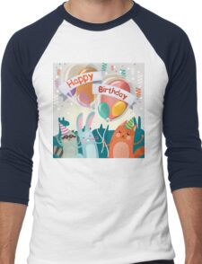 Happy Birthday Greeting Card with Cute Animals for Children Party Men's Baseball ¾ T-Shirt