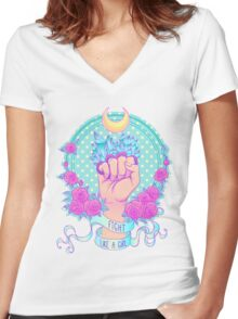 Fight Like A Girl Women's Fitted V-Neck T-Shirt