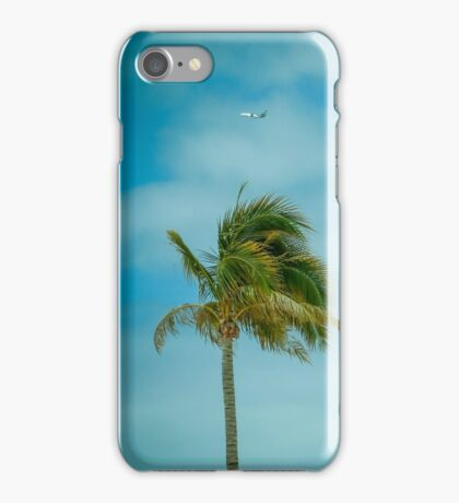 Retro Tropical Palm Trees With Plane in Sky iPhone Case/Skin