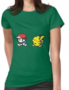 Red and Pikachu Stroll Womens Fitted T-Shirt