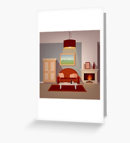 Modern Home Interior of Living Room with Fireplace. Home Sweet Home Greeting Card