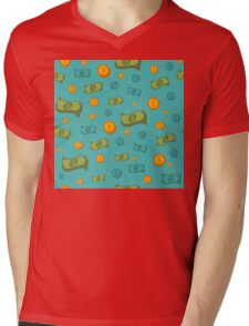 Money Seamless Pattern with Coins and Banknotes Mens V-Neck T-Shirt