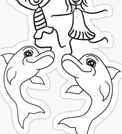 junge geschwister freunde team paar pärchen liebe mädchen kind balancieren stunt trick springender delfin cool design süß niedlich spaß  Sticker