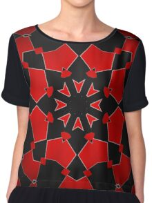 More Red on Black Chiffon Top