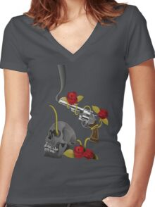 Skull And A Smoking Gun Women's Fitted V-Neck T-Shirt