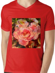 Peony Collage Mens V-Neck T-Shirt