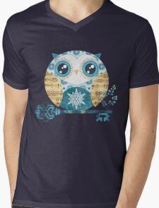 Winter Wonderland Owl Mens V-Neck T-Shirt