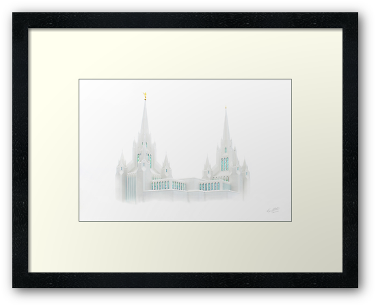 San Diego Temple in White 20x30 by Ken Fortie