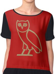 Gold Owl in Red Chiffon Top