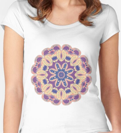 Colorful mandala violet and orange Women's Fitted Scoop T-Shirt