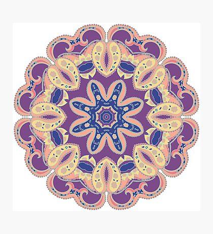 Colorful mandala violet and orange Photographic Print