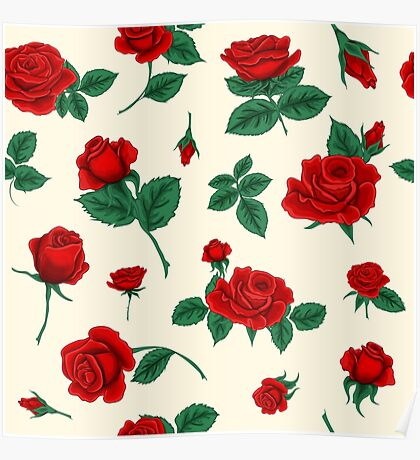 Floral Seamless Pattern with Roses Poster