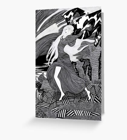 Woman with a flag II (Ships) Greeting Card