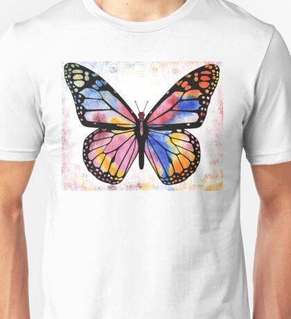 Happy Rainbow Butterfly in Watercolor Unisex T-Shirt