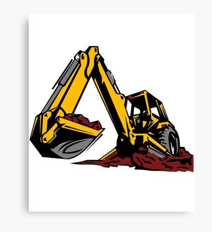 Construction Work Excavator Kids Boys Girls Men Women Canvas Print