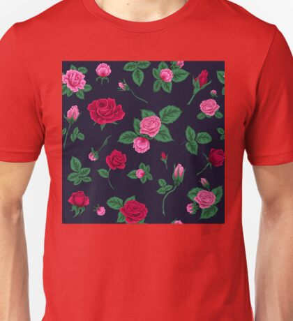 Floral Seamless Pattern with Roses Unisex T-Shirt