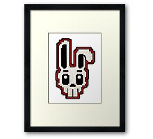 PIXEL ART - RABBIT SKULL (RED) Framed Print