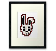 PIXEL ART - RABBIT SKULL (RED) Framed Print