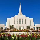 Gilbert Arizona Temple - Front Flowers - 30x20 by Ken Fortie