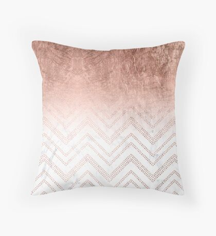 White and Rosegold Skirt Throw Pillow