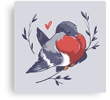 Red Heart Bird Canvas Print