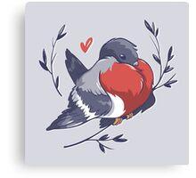 Red Heart Bird Canvas Print