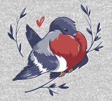 Red Heart Bird One Piece - Long Sleeve