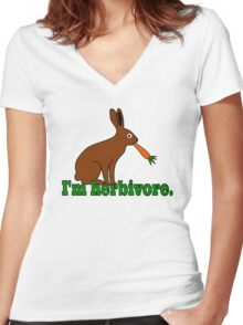 Herbivore Vegetarian Rabbit Women's Fitted V-Neck T-Shirt