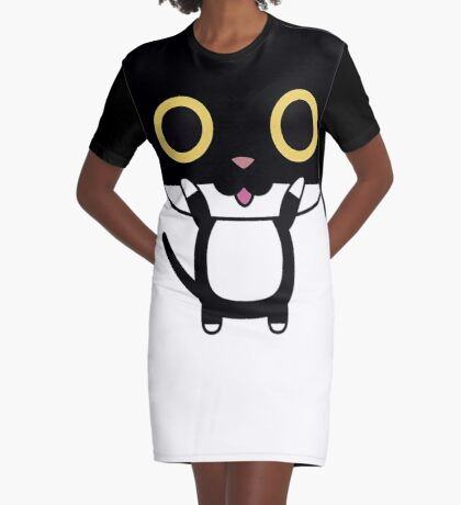 Cute Black Cat with Pink Tounge Graphic T-Shirt Dress