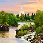 Waterfall Sunrise Idaho Falls Temple 24x20 by Ken Fortie