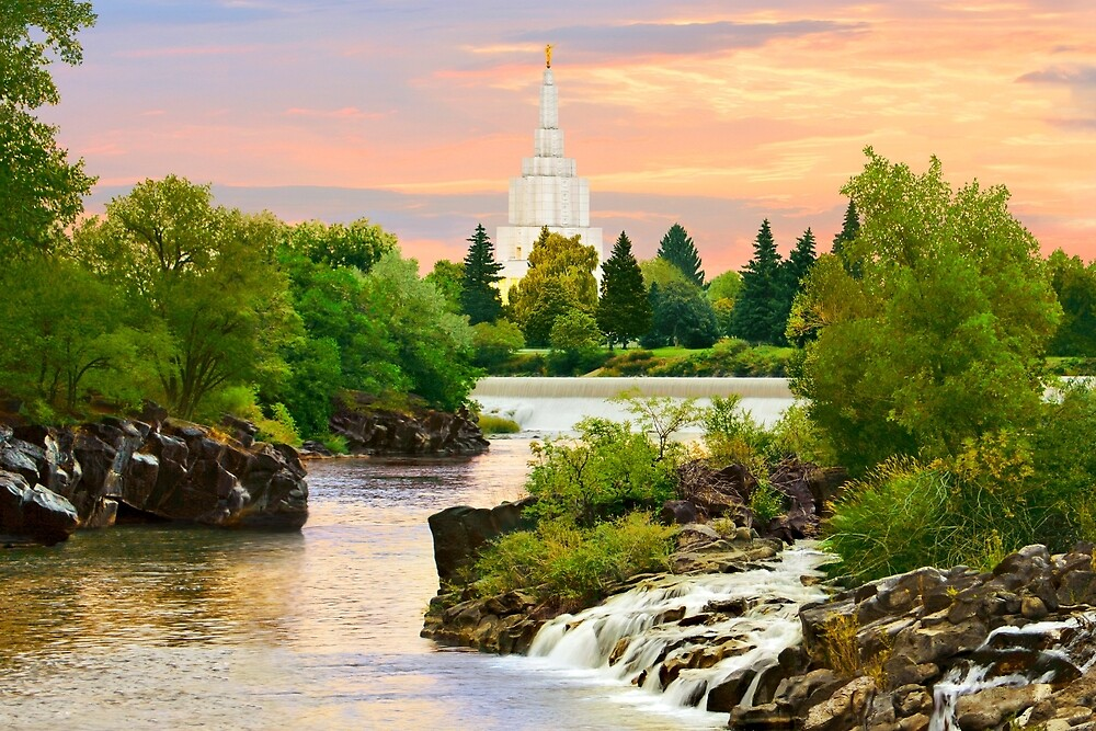 Waterfall Sunrise Idaho Falls Temple 30x20 hz by Ken Fortie