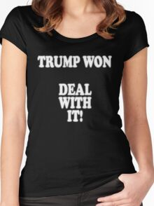 Trump Won Deal With It Wins President Donald Trump inauguration Shirt 45th 45th US America  Women's Fitted Scoop T-Shirt